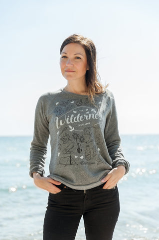 The Wilderness is Calling Triblend Grey Ladies Sweatshirt