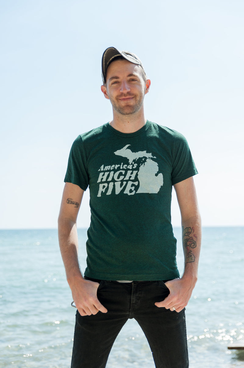 America's High Five Michigan Triblend Emerald Unisex T-shirt