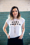 Girl Power Ladies White Rolled Cuffs Muscle Tee