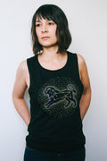 Leo the Lion Solid Black Slub Ladies Muscle Tank Top
