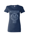 Michigan State Seal Triblend Ladies Shirt