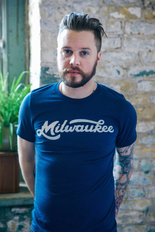 Milwaukee Retro Club Script Triblend Navy Unisex T-Shirt