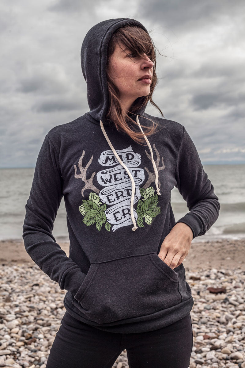 The Midwesterner Triblend Black Unisex Hoodie