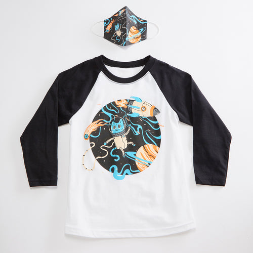 Space Cat Unisex Youth Raglan + Unisex Youth Mask Matching Set.  White/Black Triblend 3/4 length baseball kids tee. Cotton mask for boys and girls. Made in the USA.