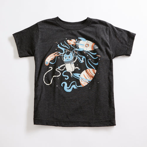 Space Cat Unisex Youth Vintage T-Shirt. Heather Black Triblend kids tee. Shirt for Boys and Girls