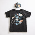 Space Cat Unisex Tee + Unisex Youth Mask Matching Set.  Heather Black Triblend kids tee. Cotton mask for boys and girls. Made in the USA.