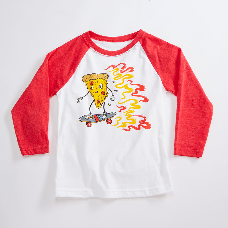 Skater Pizza Unisex Kids Raglan T-Shirt. White/Red Triblend 3/4 length baseball kids tee. Shirt for Boys and Girls