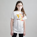 Skater Pizza Unisex Tee + Unisex Youth Mask Matching Set.  Heather Natural Triblend kids tee. Cotton mask for boys and girls. Made in the USA.