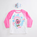 Skater Doughnut Unisex Youth Raglan + Unisex Youth Mask Matching Set. White/Pink Triblend 3/4 length baseball kids tee. Cotton mask for boys and girls. Made in the USA