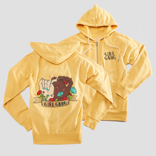 Girl Gang Unisex Hoodie. Harvest Gold Zip Up Sweatshirt for Men and Women. Made in the USA.