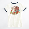 Girl Gang Vintage Ladies T-shirt. Off White Womens Girl Power Ringer tee. Made in the USA.