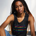 Girl Power Womens Triblend Black Muscle Tank. Heather Black tank with Rainbow foil print. Celebrates Girls and Women.