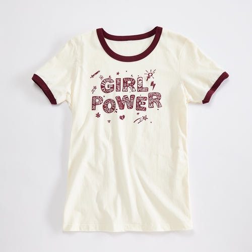 Girl Power Womens Vintage Ringer Tee. '90s style Off White tee with maroon rings. Celebrates Girls and Women.