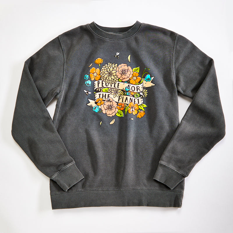 People for the Planet Unisex Pigment Dyed sweatshirt. Garment dyed washed black crewneck pullover. Celebrates Mother Earth.