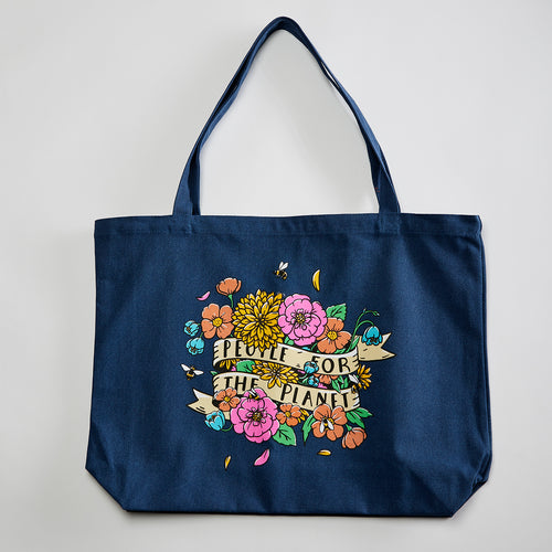 People for the Planet Pigment Dyed tote. Midnight washed navy Market Tote. Celebrates Mother Earth.