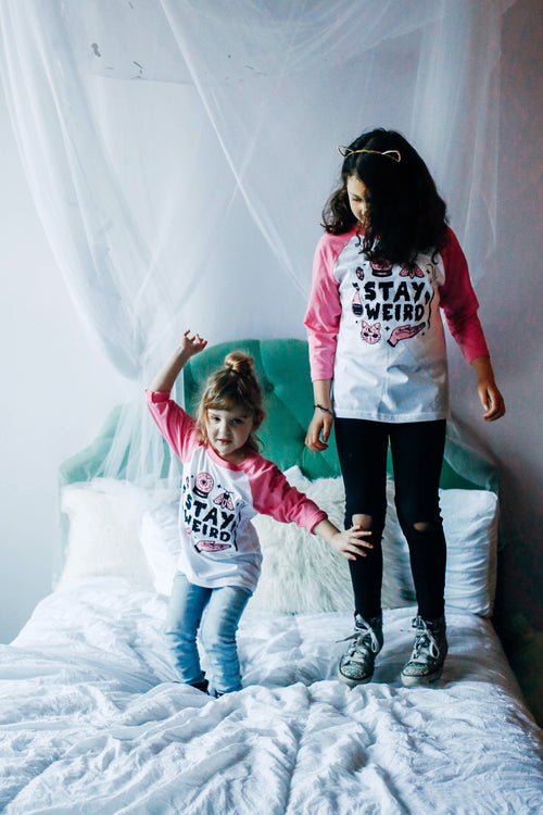 Stay Weird Solid White/Pink Raglan Kids T-Shirt