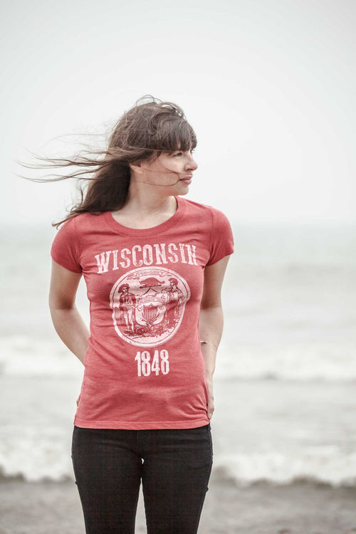 Wisconsin State Seal Triblend Ladies Shirt