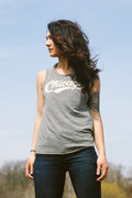 Chicago Retro Club Script Olive Slub Ladies Muscle Tank Top