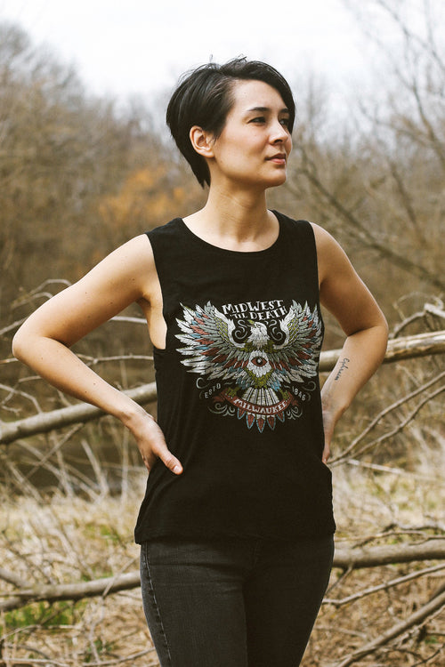 Milwaukee Eagle Eye Solid Black Slub Ladies Muscle Tank Top