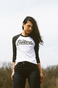 Explore Retro Club Script Solid White/Black Raglan Unisex T-Shirt