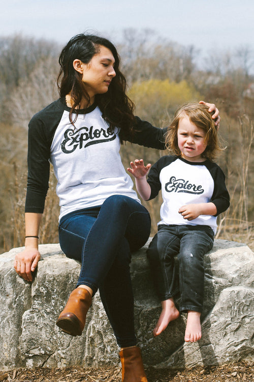 Matching Shirt Discount Set: Explore Retro Club Script Solid White/Black Adult Unisex Raglan & Toddler Raglan
