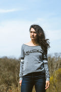 Milwaukee Retro Club Script Trblend Grey Off-The-Shoulder Ladies Sweatshirt
