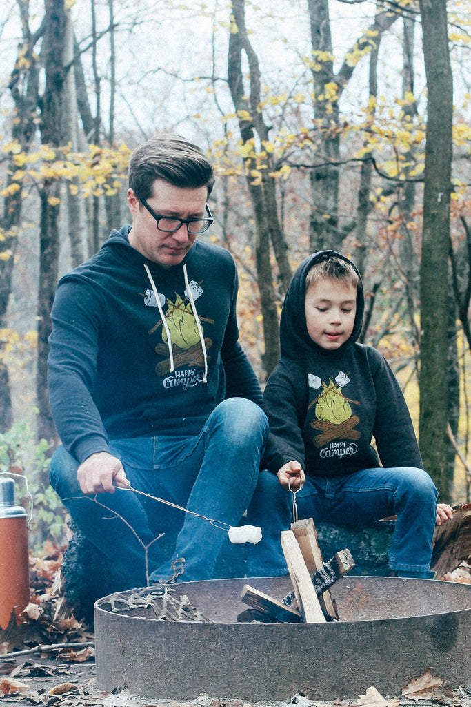 Matching Shirt Set: Happy Camper Adult Hoodie & Toddler/Youth Hoodie