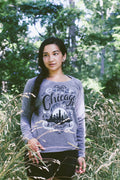 City by the Lake Chicago Triblend Grey Ladies Sweatshirt