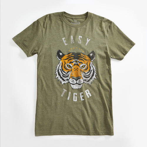 Easy Tiger Vintage Unisex T-Shirt. Slim Fit Olive Green Tee. Shirt for Men Women.