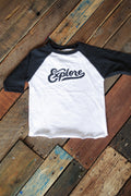 Explore Retro Club Script Solid White/Black Raglan Toddler T-Shirt