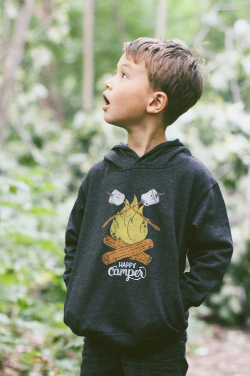 Happy Camper Triblend Black Toddler Hoodie
