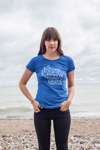 Represent Wisconsin Script Ladies Triblend Blue Shirt