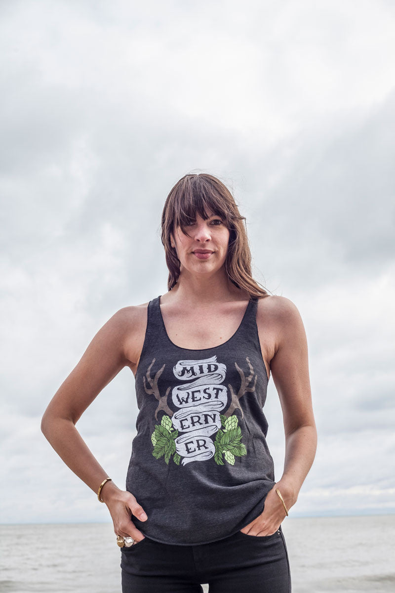 The Midwesterner Black Triblend Ladies Racerback Tank