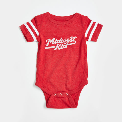 Midwest Kid Red with White Sleeve Stripes Baby Onesie