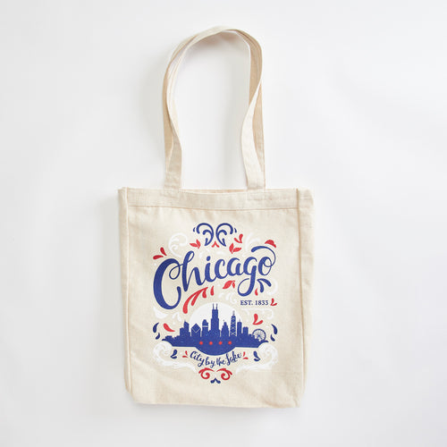 Chicago City By The Lake market tote. Illinois, midwest, canvas tote made in the USA with eco-friendly inks.