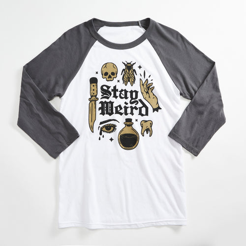 Stay Weird Unisex Raglan Baseball tee. Creepy, magic, potions, spooky shirt, tank for men and women with metallic gold ink