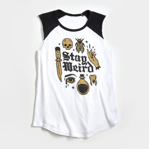 Stay Weird Mauve Ladies Raglan Sleeve Tank Top. Creepy, magic, potions, spooky shirt, tank for women with metallic gold ink