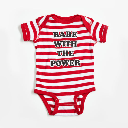 Babe With The Power Red/White Striped Baby Onesie