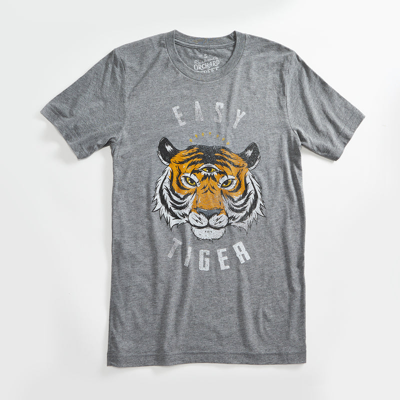 Easy Tiger Vintage Unisex T-Shirt. Slim Fit Heather Grey Tee. Shirt for Men Women.