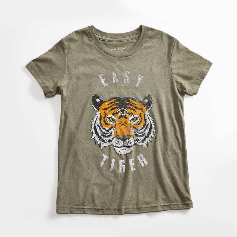 Easy Tiger Vintage Unisex Youth T-Shirt. Olive Green Kids Triblend Tee with Tiger. Shirt for Boys and Girls. Made in USA