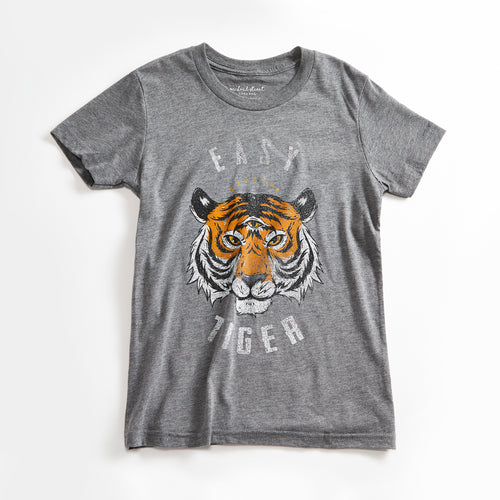 Easy Tiger Vintage Unisex Youth T-Shirt. Heather Grey Kids Triblend Tee with Tiger. Shirt for Boys and Girls. Made in USA