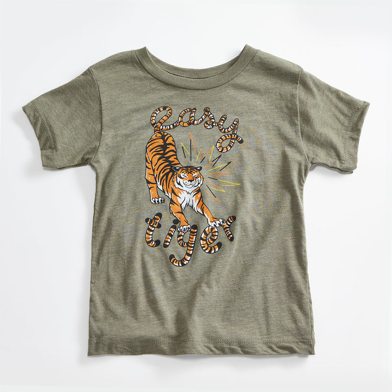 Easy Tiger Vintage Unisex Toddler T-Shirt. Olive Green Kids Triblend Tee with Tiger. Shirt for Boys and Girls.