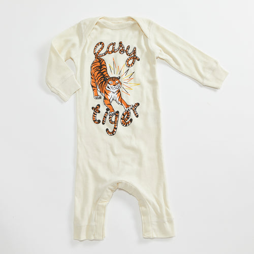 Easy Tiger Vintage Unisex Infant Bodysuit. Long Sleeve Romper. Natural baby one piece with Tiger illustration.