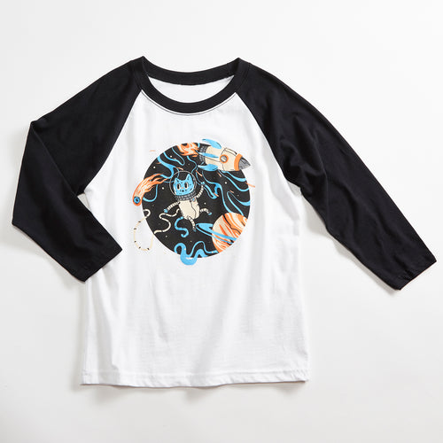 Space Cat Unisex Kids Raglan T-Shirt. White/Black Triblend 3/4 length baseball kids tee. Shirt for Boys and Girls