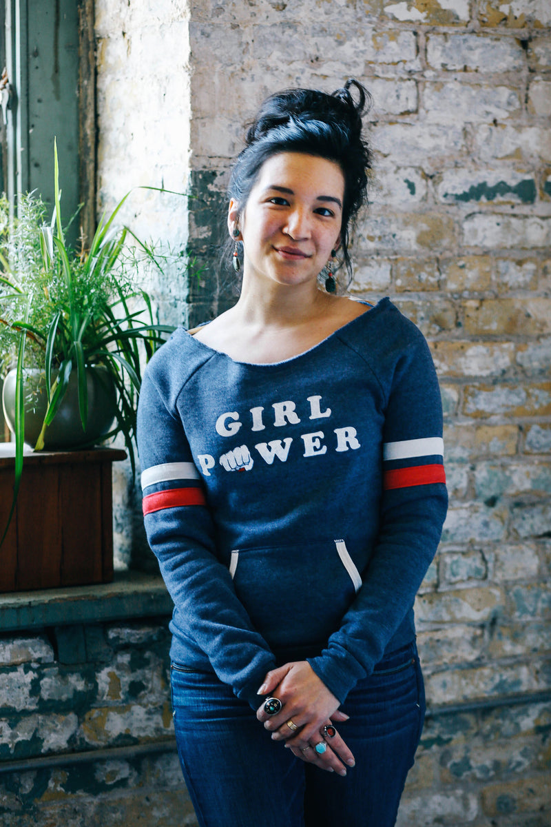 Girl Power Triblend Navy Off-The-Shoulder Ladies Sweatshirt
