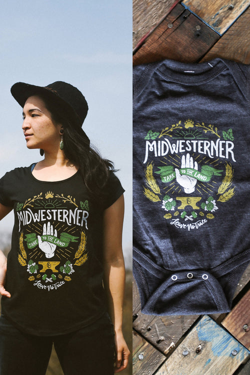 Matching Shirt Discount Set: Leave No Trace Midwesterner Ladies T-Shirt & Baby Onesie
