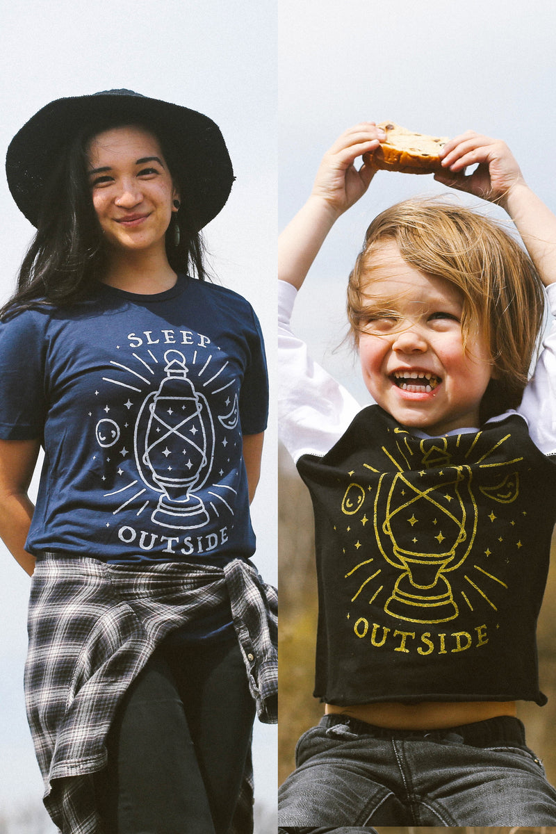 Matching Shirt Discount Set: Sleep Outside Adult Unisex T-Shirt & Toddler Raglan Shirt