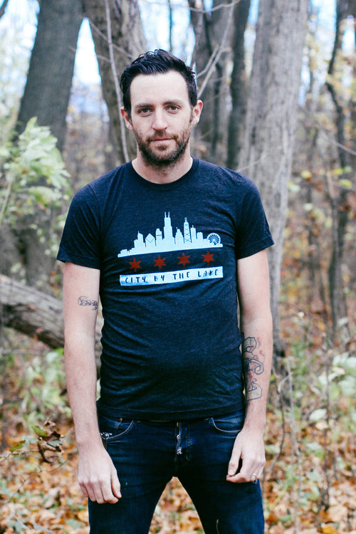 Chicago Flag Skyline Triblend Charcoal Black Unisex T-shirt