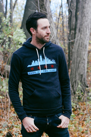 Chicago Flag Skyline Triblend Black Unisex Hoodie