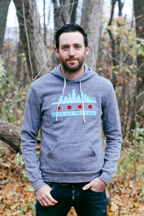 Chicago Flag Skyline Triblend Grey Unisex Hoodie